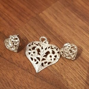 Silver .925 cutout heart pendant and earrings